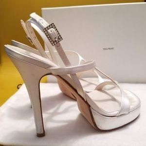 Vera Wang Platform White Satin bridal shoe